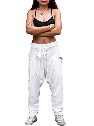 - Thaluta Harem Pants Women Cotton Drop Crotch 2 Pockets Cyberpunk 4-12 US (White)