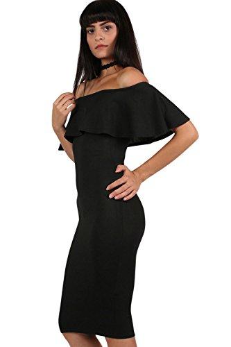PILOT® hombro de volante profundo Vestido ajustado midi negro