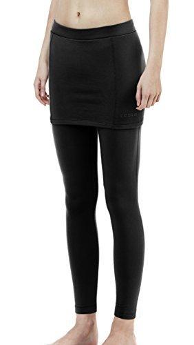 Girls Coldgear Legging (TSLA TM-XUP36-KLB_X-Small Women's Thermal Fleece Compression Skirt w/Attached Leggings XUP36)