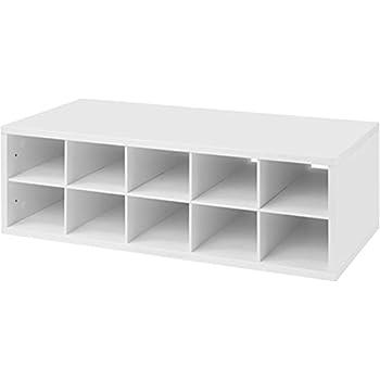 Organized Living FreedomRail 10 Cubby Shoe Storage Big OBox   White