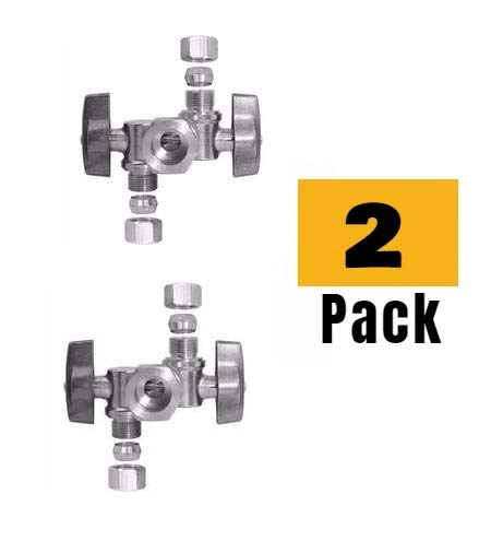 """5/8"""" OD Comp X 3/8"""" Comp X 1/4"""" Comp Double Handles 1/4 Turn Angle Stop Water Shut off Valve Lead-Free (Pack 2)"""