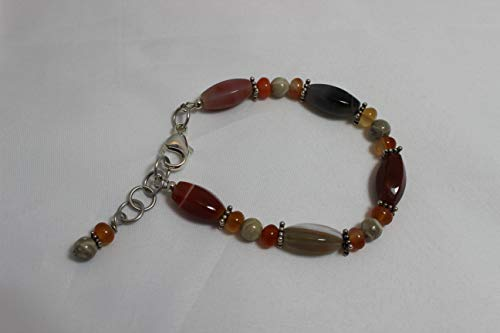 Red Botswana Agate and Fossil Jasper Bracelet, Boho Bracelet, Bohemian Jewelry, Handmade Jewelry