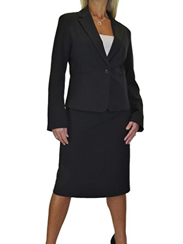 (icecoolfashion Smart Fully Lined Washable Event Business Office Skirt Suit Black 6-18 (12))