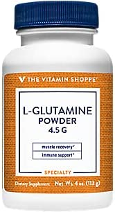 The Vitamin Shoppe LGlutamine Powder 4.5G, A Free Form Amino Acid, Supports Muscle Recovery Immune Health (4 Ounces Powder)