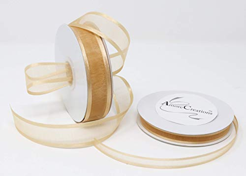 Light Gold Organza Ribbon With Satin Edge-25 Yards X 3/8 Inches