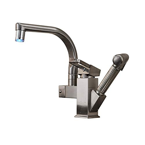 Rozinsanitary Brushed Nickel LED Swivel Spout Kitchen Sink Faucet Pull Out Spray Mixer Tap