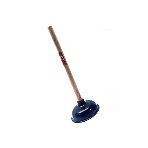 Unique Imports Premium Bathroom Toilet Plunger Suction Cup with Long Wooden Handle Fix Clogged Toilets - Large 6.5