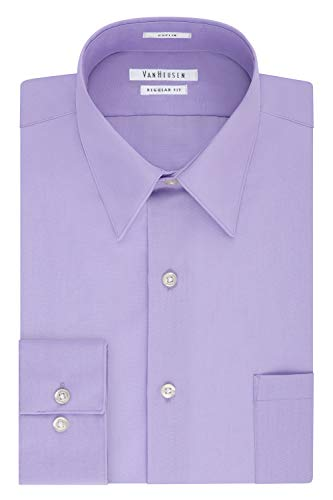 Van Heusen Men's Dress Shirt Regular Fit Poplin Solid, Lavender, 15.5