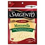 Sargento Classic Chef Style Shredded Mozzarella Cheese, 8 Ounce -- 12 per case.