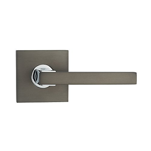 Fortessa GRAVITY Series Contemporary Design Door Lever / Door Handle with Gunmetal Grey and Polished Chrome Finish (Passage, No Lock)