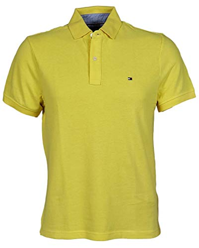 - Tommy Hilfiger Men's Classic Fit Solid Color Short Sleeve Logo Polo Shirt - XL - DstYelow