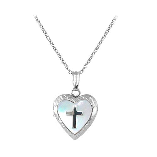 (Child Jewelry - Silver Mother of Pearl Cross Heart Locket Necklace (15 in))