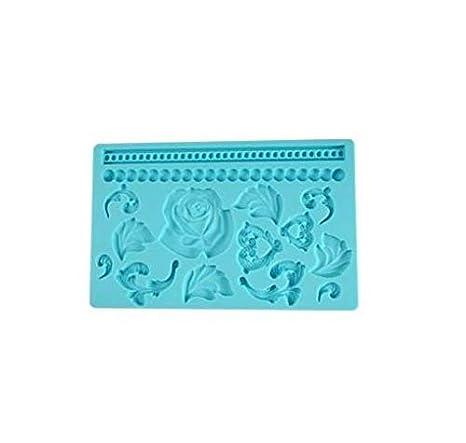 Moldes de Silicona para decoración de Pasteles de Rosa/corazón/Hojas, Ideales para Bordes Decorativos en Tarta de Boda y Pasteles de cumpleaños, ...