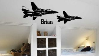Personalized Jet Fighter Decal Vinyl Wall Military Sticker Big 40 X 14 inch sticker