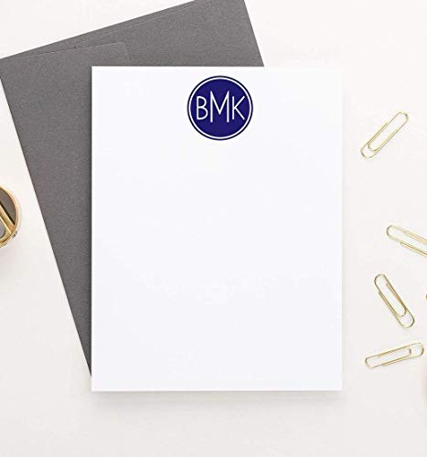 (Mens Personalized Stationary, 3 Letter Monogram Stationery Set, Personalized Stationery for Men, Monogrammed Stationary Set, Your Choice of Colors and)