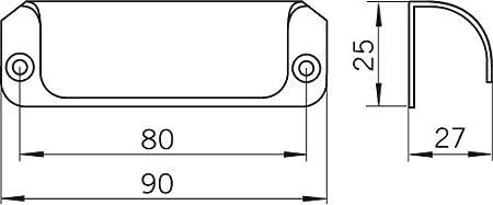 Aluminium Schlicht SIRO M/öbelgriff Friedberg 60 mm x 20 mm x 27 mm Natur matt 1139-60AL1 LA 50 mm