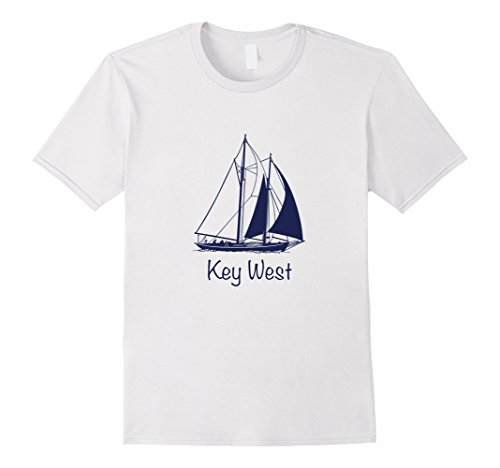 Mens Key West Vintage Sailboat - Florida T-Shirt 2XL White - Key West Sailboat