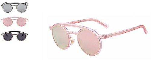 Circle Double Bridge NYC Fashion Retro Sunglasses (Ice Baby Pink, - Sunglasses Baby L