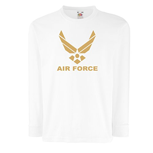 Kids Boys/Girls T-Shirt United States Air Force (USAF) - U. S. Army, USA Armed Forces (9-11 Years White Gold)
