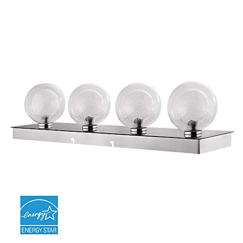 Euri Lighting EIN-VL21CH-1030e Dimmable Four Light Vanity Strip, Glass Web Orbs, Polished Chrome, 23 Inch, 20 Watts, 1800 Lumens, 3000K Soft White, Energy -