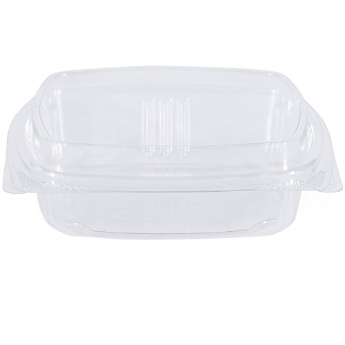 Simply Deliver 8 oz Tall Dome Hinged Lid Deli Container with Complete Air-Tight Seal, Crystal Clear PET, 200-Count