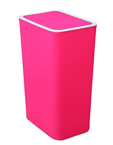 (Trash Can Hflove Solid Color Plastic Toilet Trash Bin Push-Button Garbage Can (Pink))