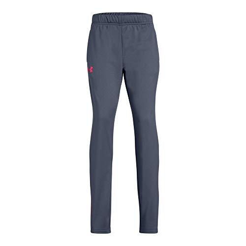 Under Armour Girls Tech Track Pants, Apollo Gray (962)/Penta Pink, Youth Medium