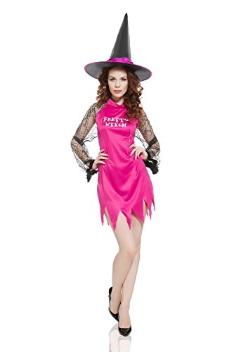Best Sexiest Halloween Costumes (Adult Women Pretty Witch Halloween Costume Hot Enchantress Dress Up & Role Play (Small/Medium, pink))