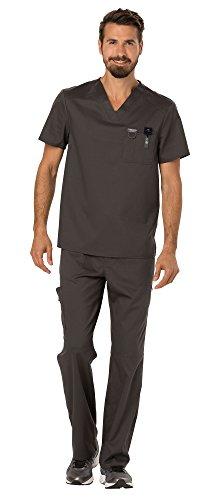 Cherokee Workwear Revolution Men's Medical Uniforms Scrubs Set Bundle - WW690 V-Neck Scrub Top & WW140 Zip Fly Cargo Scrub Pants & MS Badge Reel (Pewter - ()