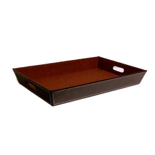 The Lucky Clover Trading Roosevelt Faux Leather Serving Valet Tray, X-Large Basket, Brown