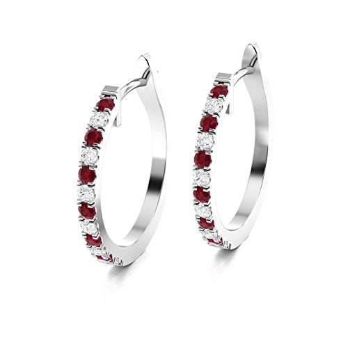 Diamondere Natural and Certified Ruby and Diamond Huggies Earrings in 14K White Gold | 0.52 Carat Earrings for Women