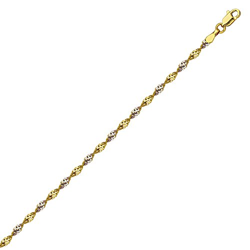 - 14k Two-tone Gold Anklet Ankle Bracelet Dorica Twist Chain 10-inch Length