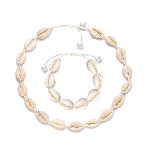 Bracelets Shell Beach - TIKCOOL Pearls Shell Choker Necklace for Women Seashell Anklets Bracelets Set Cord Hemp Cowrie Shell Necklace Summer Beach Jewelry (Shell Bracelet&Necklace#1)