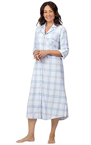 Flannel Plaid Gown - Addison Meadow Flannel Nightgowns for Women - Long, Blue Plaid, S, 4-6