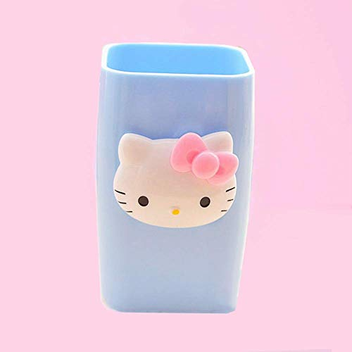 YOURNELO Cartoon Adorable Simple Cute Hello Kitty Bathroom Accessories Toothbrush Holder&Tumbler (Blue)