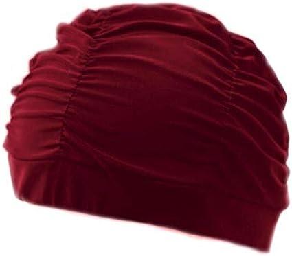 Gorros Plisado pétalo de la Flor Tela baño Swim Piscina Playa Mar Proteger los oídos de Pelo Largo Que se bañan capsula los Sombreros for niñas Mujeres jóvenes (Color : Pleated Wine Red)