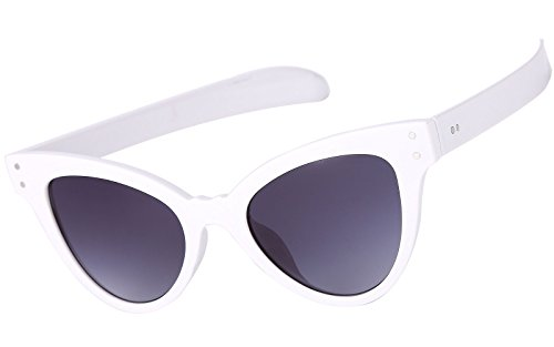 Beison Classic Womens Cat Eye Glasses Sunglasses Tinted Lens UV400 Protection (White frame / Grey lens, - White Framed Eyeglasses