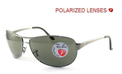 95a8a86045 Ray Ban Sunglasses RB 3342 Warrior 004/58 Gunmetal/Polarized Crystal Green,  63mm: Amazon.co.uk: Clothing