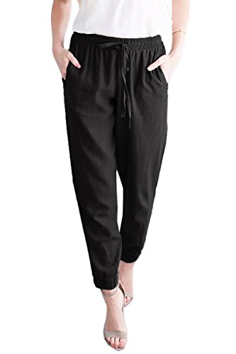 Mafulus Womens Linen Pants Casual Drawstring Elastic Waist Work Harem Pants with (Elastic Work Pant)