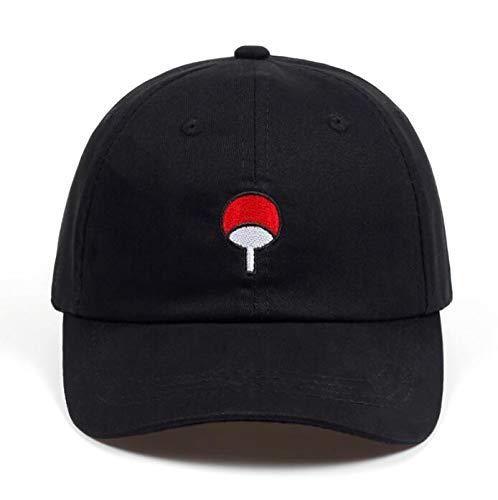 HOMZE Baseball Caps Cotton Japanese Anime Naruto Dad Hat Uchiha Family Logo Embroidery Baseball Caps Black Snapback Hat Hip Hop for Women Men -