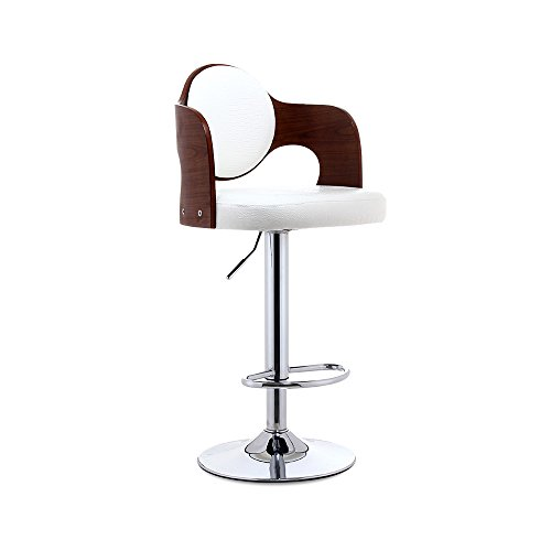 Bar Chairs Solid Wood Bar Stool Bar Chair Lift Bar Stool Front Desk And Chair American Retro High Stool Solid Wood Back PU Leather Paint Accessories Gas Bar ( Color : A ) by PM Barstools