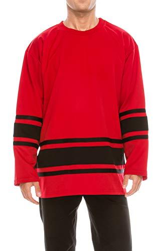 WISHICAN Men's Blank Hockey Jersey in Red with Black Stripe, L