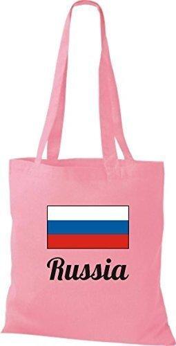 ShirtInStyle Bolso de mano Bolsa de algodón Yute de país Rusia Rusia - fucsia, 38 cm x 42 cm Rosa