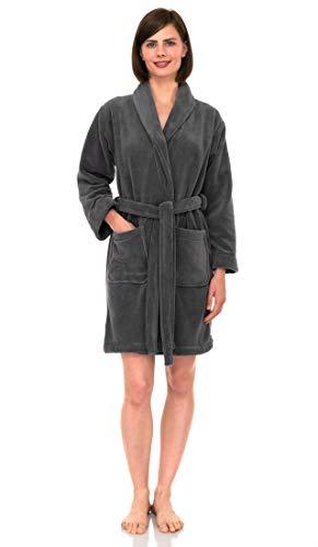 TowelSelections Women's Robe, Plush Fleece Short Spa Bathrobe Medium Smoked Pearl