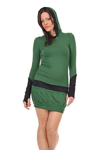 Green Hoodie by cuffs Sleeve Long with Dress designed 3Elfen Fir Bqawzw