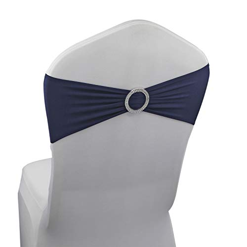 - Navy Blue Spandex Chair Bands Sashes - 50 pcs Wedding Banquet Party Event Decoration Chair Bows Ties (Navy Blue, 50 pcs)