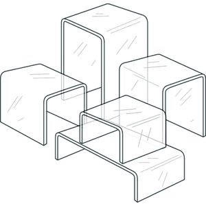 Plastic Display Risers, Variety Pack of 5, Clear Acrylic