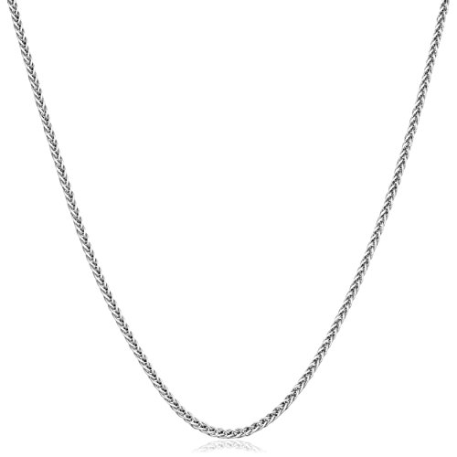 Kooljewelry Solid 14k White Gold 1 mm Square Wheat Chain Necklace (18 inch) ()