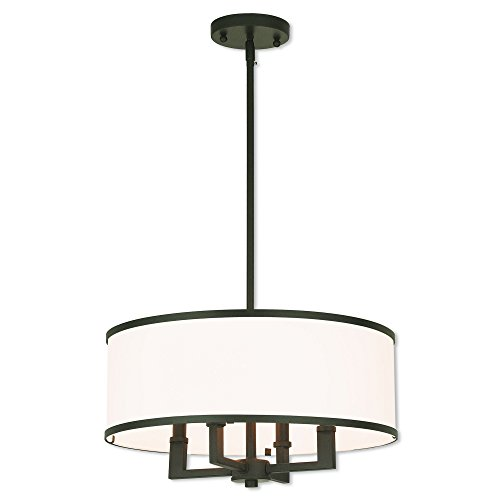 Livex Lighting 62615-07 Park Ridge 4 Light Bronze Pendant Chandelier (Bronze 7 Light Chandelier)
