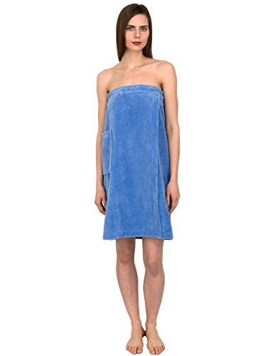 TowelSelections Women's Wrap, Shower & Bath, Water Absorbent Cotton Lined Fleece Large/X-Large Blue Bonnet Fleece Lined Water
